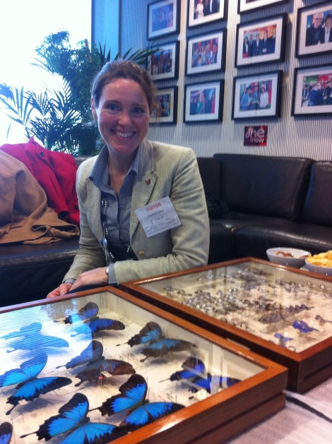 Gemma Aboe with the drawers of Wallace specimens.