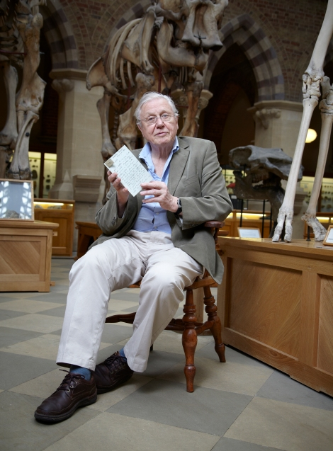 Sir David Attenborough in the Museum with a Wallace letter