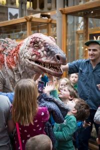 The kids dig Dinosaur Zoo's Australovenator.