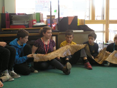 Pupils use a rock python skin from the Museum to help stimulate a Philosophy for Children session discussing whether it is acceptable to kill animals for science.