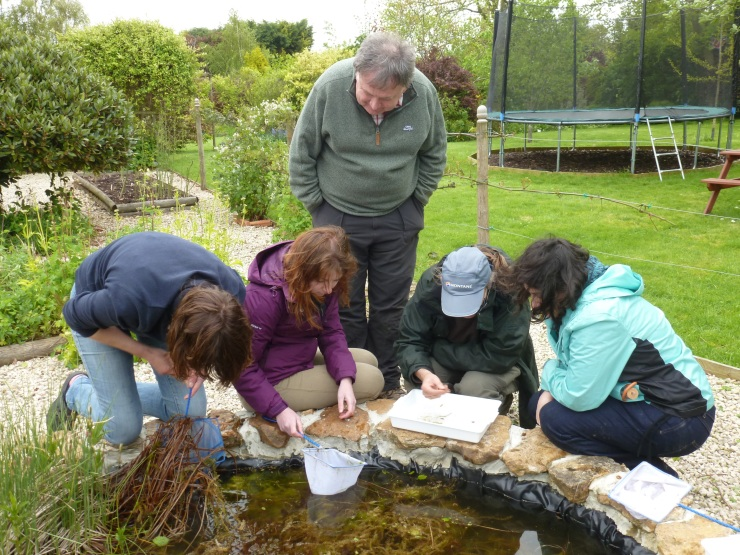 Having a good look at the goodies we found in the pond