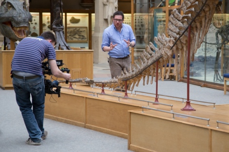 Ben Garrod tracks along the Iguanodon tail.