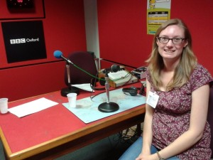 Hilary at the BBC Oxford radio studio in Summertown, talking to Mike Reid on BBC Radio Berkshire, later the same day.