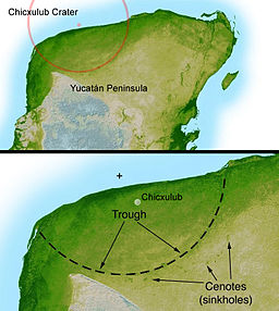 This shaded relief image of Mexico's Yucatan Peninsula show a subtle, but unmistakable, indication of the Chicxulub impact crater. Most scientists now agree that this impact was the cause of the Cretatious-Tertiary Extinction, the event 65 million years ago that marked the sudden extinction of the dinosaurs as well as the majority of life then on Earth. Image: NASA/JPL-Caltech, modified by David Fuchs at en.wikipedia [Public domain], via Wikimedia Commons.