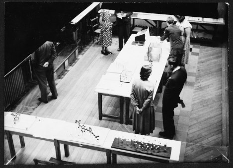 This shot is believed to show Dorothy with an exhibition of her work, in the Museum
