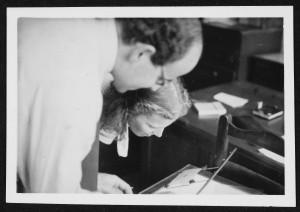 Hodgkin with fellow Nobel laureate Max Perutz,