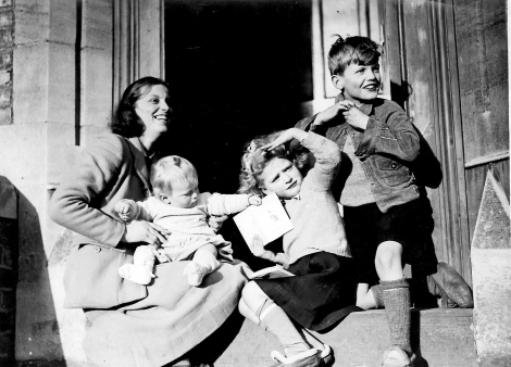 Dorothy with her children, on the day her Fellowship of the Royal Society was announced, 1947
