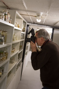 Martin Parr scrutinising our vertebrate spirit collections