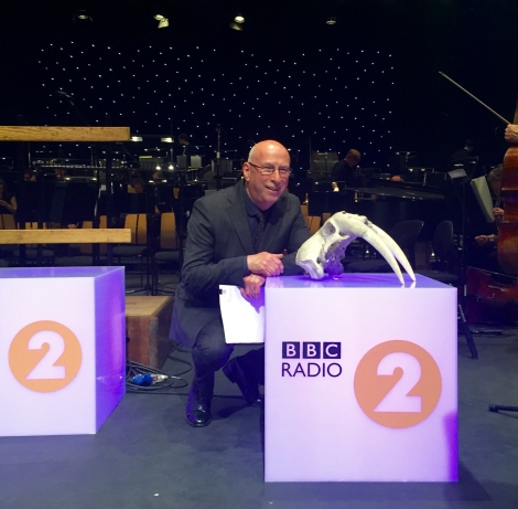 Radio 2 presenter Ken Bruce with the Tradescant Walrus