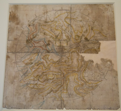 This 1799 map of Bath, on display in the exhibition, is the oldest geological map in the world