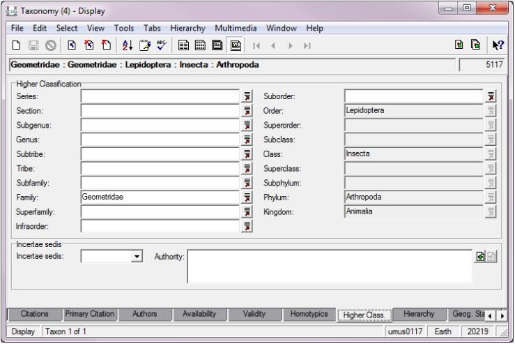 Screenshot of taxonomy fields for entomology in KE EMu CMS