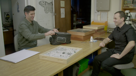 James Hogan (right) selecting specimens with Levon Biss