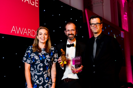 Marcus Brigstocke awards the prize for 'Project on a Limited Budget'.