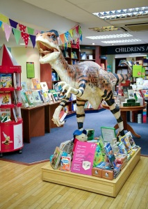 The Utahraptor model in Blackwell's bookshop as part of the Goes to Town project. Photo: Mike Peckett