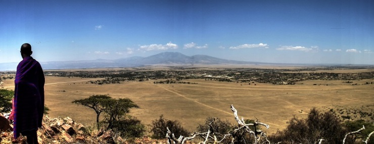 The view from the top of Naibor Soit overlooking Olduvai Gorge. Photo Credit: Tomos Proffitt