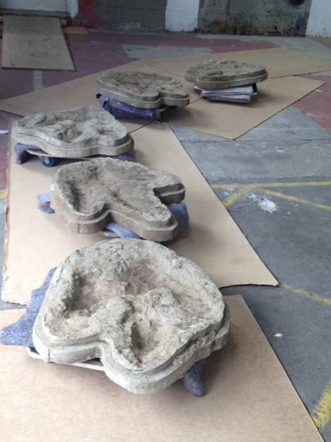 Footprint casts, attributed to Megalosaurus, queuing for a lift to Harcourt Arboretum. Credit: Hannah Allum