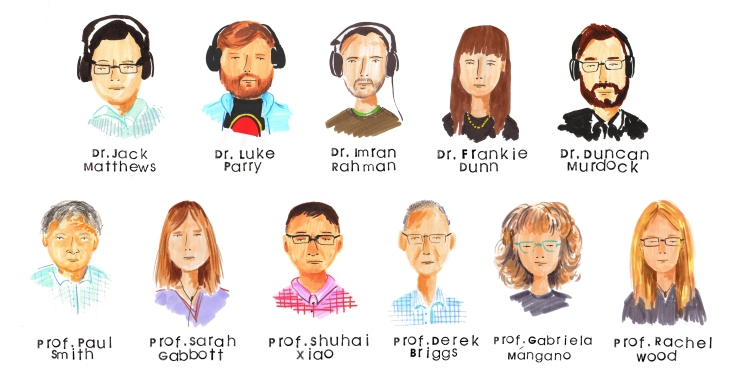 A set of illustrated cartoons of the heads of eleven people with their names handwritten underneath