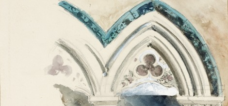 Temple of Science banner showing painted, decorative arched window