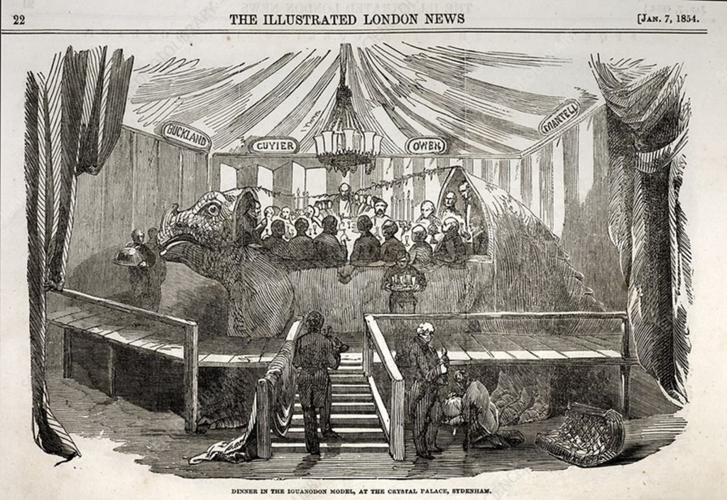 Line drawing of a group of men sitting inside a hollow model of a dinosaur inside a curtained tent